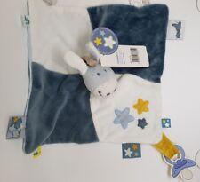 Doudou Noukie's plat ane étoile bleu jaune attache tétine NEUF