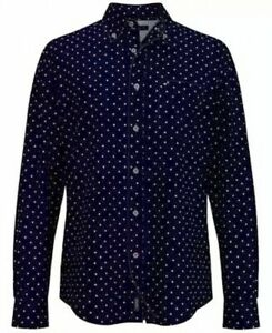 Tommy Hilfiger Mens Shirt Blue Size Small S Leaf Print Button Down $69 080