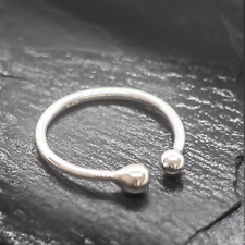 Adjustable Ring Two Beads Sterling Silver