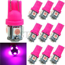 10 x T10 5050 SMD 5 LED Wedge Tail Car Pink purple Light Bulb 194 168 W5W 12V
