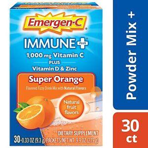 Emergen-C Immune Plus 1000 mg Vitamin C + D3 & Zinc Drink Mix Super Orange 30 pk
