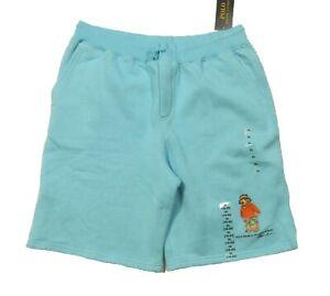 Polo Ralph Lauren Boys Aqua Blue Polo Bear Graphic Fleece Lined Shorts