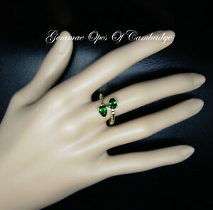 9K 9ct Chrome Diopside Asymetric Twin Ring Size N 1/2 2.65g