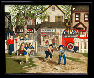 "H. Hargrove ""Americana"" Signed Framed Giclée on Canvas Baseball - B0919"