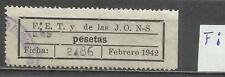 5640-SELLO ESPAÑA VIÑETA GUERRA CIVIL FALANGE *una pesetas .VALENCIA.ERROR 2 PUN