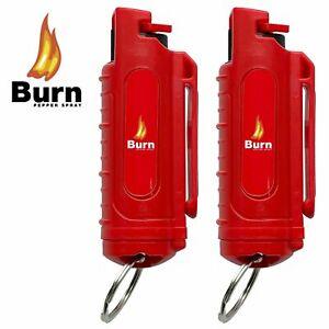 2 BURN Pepper Spray .50oz Self Defense Red Hardshell Keychain Molded Security