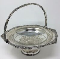 Superb Antique Victorian Silver Plated Fruit Bowl Engraved 1873