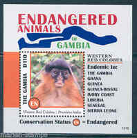 GAMBIA ENDANGERED ANIMALS OF AFRICA  GUINEA WESTERN RED COLOBUS S/SHEET MINT NH