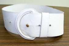 Il Bisonte White Leather Logo Wide Belt sz M Italy