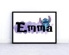 Disney Stitch print personalised childrens wall art poster lilo and stitch