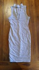 Women's Nude Collar v-neck design Bodycon dress Lined sz8 BNWOT free post E24