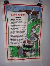 Vtg Irish Linen Tea Towel Irish Stew Recipe Leprechauns Anthropomorphic Veggies