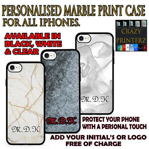 Personalised Custom iPhone Marble Print Case Protection Rubber & Hard Plastic