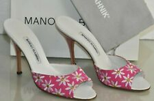 NEW Manolo Blahnik ASTUTA Slides Sandals Floral Embroidered Pink Mules 40