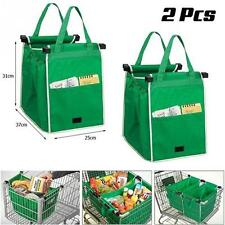 2 Pcs New Reusable Grocery Shopping Eco Bags Clip-To-Cart Grab Bag As See On TV