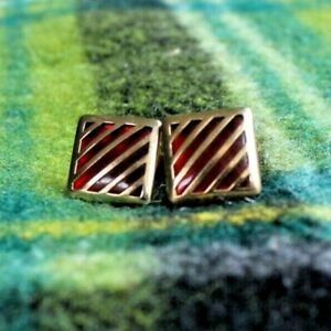 Vintage Anson Square Cufflinks Red Lucite, gold tone, marked