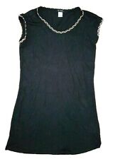La Redoute Black Short Sleeve Dress with Gold Braid Trim Size 14