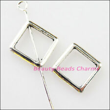 10Pcs Tibetan Silver Square Circle Spacer Frame Beads Charms 12mm
