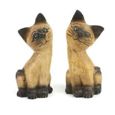 Hand carved pair of Wooden Cats / Kittens Fairtrade Handmade