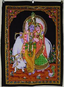 * Indian Hindu God Radha Krishna with Cow Sequinned Wall Hanging * Small