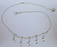 Girl Stylish Crystal studded Silver Anklet Payal for women - 1 Pair