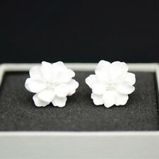 3D Camellia Resin Earrings Rose Flower Ear Stud Earrings Jewelry Wedding Bridal