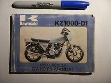 motorcycle owner's manual 1978 78 Kawasaki KZ1000 KZ1000-D1 KZ 1000 Z1-R Z1R