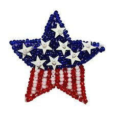 ID 8859 American Flag Star Patch Patriotic Symbol Craft Beaded Iron On Applique
