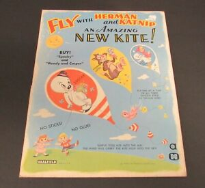 Vintage Saalfield Fly with Herman and Casper The Ghost  and Katnip Kite Sealed
