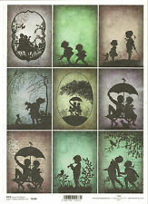 Rice Paper for Decoupage Scrapbooking, Topper Children Shadow Umbrella ITD R544