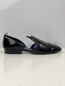 Zara Women's Black Faux Leather D'orsay Flat Shoe UK Size 8