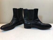 Women's Caressa 'Fuller' Black Leather Elastic Gore Zip Trim Ankle Boot Size 10M