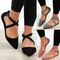 Womens Flat Ankle Cross Strap Sandals Pointed Closed Toe Comfy Smart Shoes Size