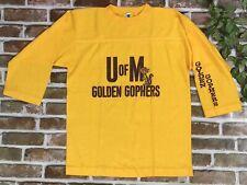 Vintage Golden Gophers U Of M Artex 3/4 Sleeve Mustard Baseball Shirt Medium USA