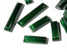 (21) vintage Czech Art Deco green satin marble stripe rectangle glass cabochons