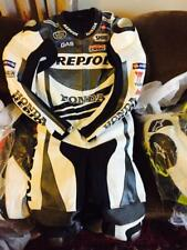 HONDA REPSOL MOTORBIKE MOTOGP RACING COWHIDE LEATHER 1/2 PC BIKERS SPORTS SUIT