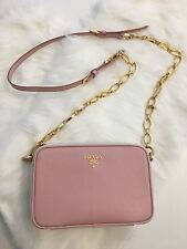 Prada. Chain Shoulder Bag. Pink & White Leather