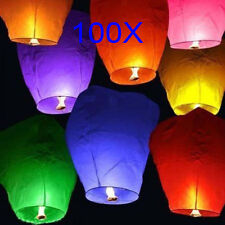 100X Mix Color Paper Chinese Lanterns Sky Fly Candle Lamp for Wish Wedding Party