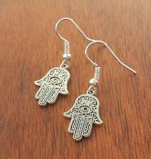 Hamsa Hand Earrings Spiritual Eye of Protection Charm Silver925 Hook