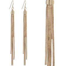 Women Long Fringe Tassel Gold Chain Earrings