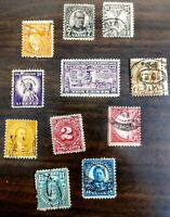 ELEVEN  OLDER UNITED STATES POSTAGE STAMPS! USED!! OFF PAPER!