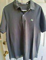 EUC Lacoste Men's Black Polo Shirt Size XL 100% Cotton Short Sleeve slim fit