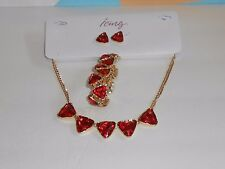 Icing Statement Gemstone Necklace Bracelet & Earring Set Red & Gold NWT