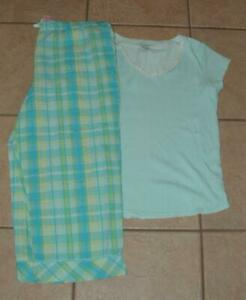 Blue Small 4 / 6 Capri Pants & Shirt Cotton Pajama Lounge Set SECRET TREASURES