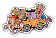 "Girl Old Car Wash Young Car Bumper Sticker Decal 5"" x 3"""