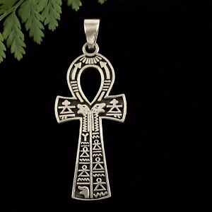 Solid Sterling Silver 925 ANKH Cross Pendant Symbol of Life 49mm For Male Female