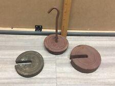 Antique Platform Scale Cast Iron Weights & Hangers Lot Fairbanks? Toledo? Holder