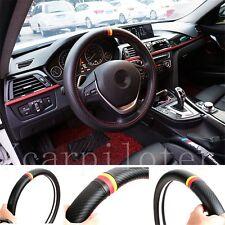 1Pcs Auto Luxury German Flag Color Power Black Carbon Fiber Steering Wheel Wrap