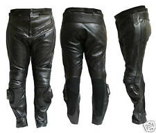 Pantalone Moto in Pelle Nero Per Pista Protettori CE