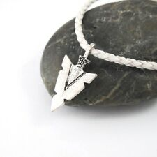 Silver Native American Arrow Head Pendant White Leather Choker Surfer Necklace